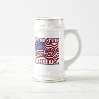 United States Of America est 1776 with USA Flag Beer Steins