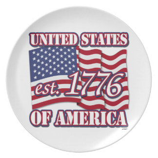 United States Of America est 1776 with USA Flag Plate