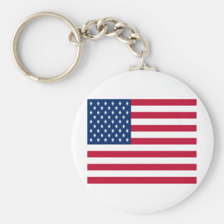 United States of America Flag Basic Round Button Key Ring