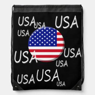 United States Of America Flag Drawstring Backpack