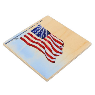 United States of America flag in the wind Wood Coaster
