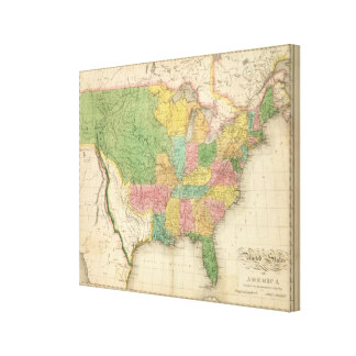 United States of America History Map Stretched Canvas Print