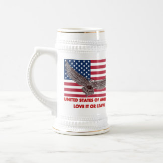 UNITED STATES OF AMERICA  LOVE IT OR LEAVE 18 OZ BEER STEIN