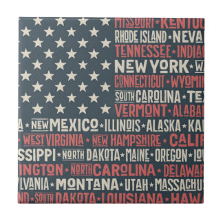 United States Of America |States & Capitals Small Square Tile