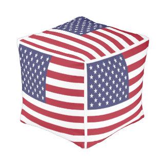 United States Of America USA Flag Cube Pouffe