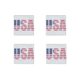 United States of america USA Flag letter design Stone Magnet
