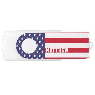 United States Of America USA Flag Personalized Swivel USB 3.0 Flash Drive