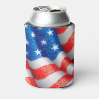 United States of America Wavy Flag Zen Doodle Art Can Cooler