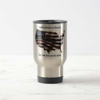 United States of America words, wavy flag and more Stainless Steel Travel Mug