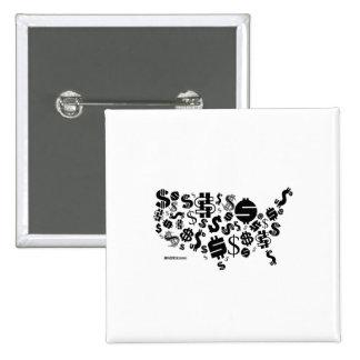 United States of Money 15 Cm Square Badge