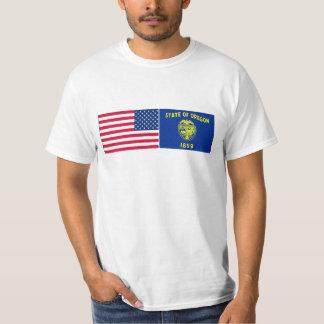 United States & Oregon Flags Tee Shirt