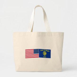 United States & Oregon Flags Jumbo Tote Bag