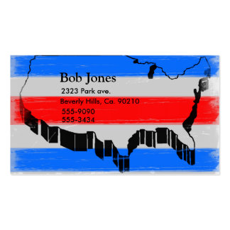 United States Outline In Red, Blue, & Grey Business Card Templates