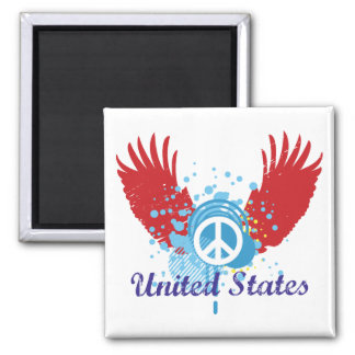 United States Peace Sign Square Magnet