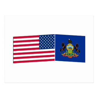 United States & Pennsylvania Flags Postcards