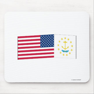 United States & Rhode Island Flags Mouse Pad