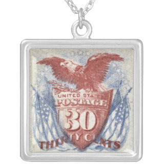 United States Shield Postage Stamp Necklace