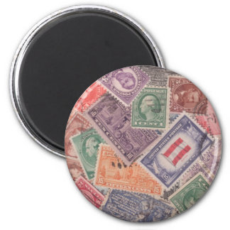 United States Stamps on a Magnet! 6 Cm Round Magnet