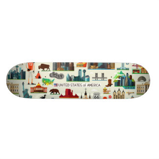 United States Symbols Pattern 21.3 Cm Mini Skateboard Deck