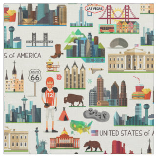 United States Symbols Pattern Fabric