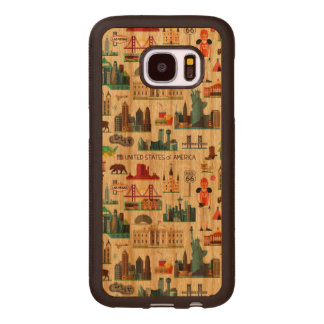 United States Symbols Pattern Wood Samsung Galaxy S7 Case