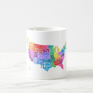United States Typography Text Map Coffee Mugs