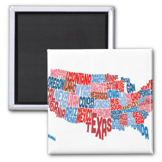 United States Typography Text Map Refrigerator Magnets
