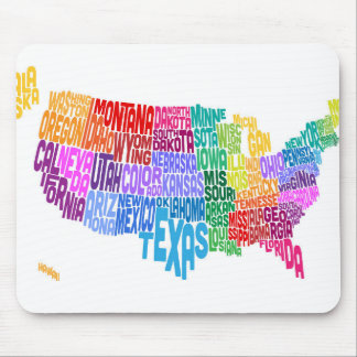 United States Typography Text Map Mouse Mat