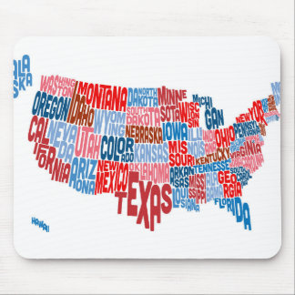 United States Typography Text Map Mouse Pad