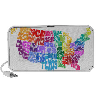United States Typography Text Map Travel Speaker
