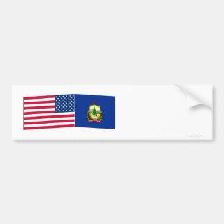 United States Vermont Flags Bumper Sticker