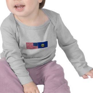 United States Vermont Flags Tee Shirt