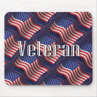 United States Veteran Waving Flag Mouse Pad