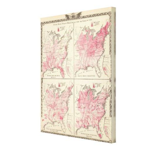 United States vitality maps Canvas Print