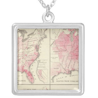 United States vitality maps Silver Plated Necklace
