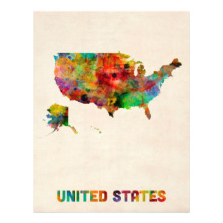 United States Watercolor Map Personalized Flyer