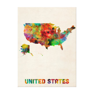 United States Watercolor Map Gallery Wrap Canvas