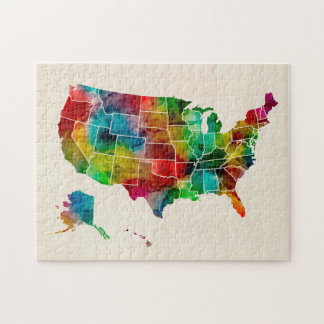 United States Watercolor Map Jigsaw Puzzle