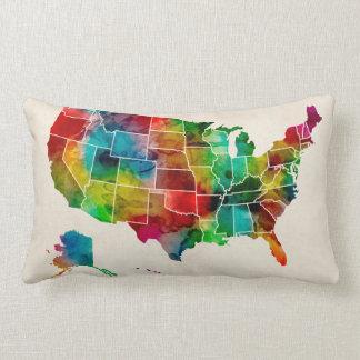 United States Watercolor Map Lumbar Pillow