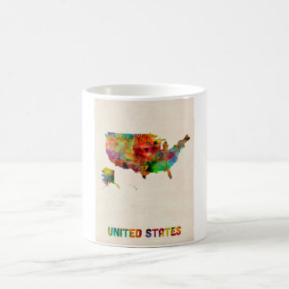 United States Watercolor Map Coffee Mugs