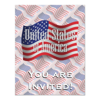 United States Waving Flag 11 Cm X 14 Cm Invitation Card