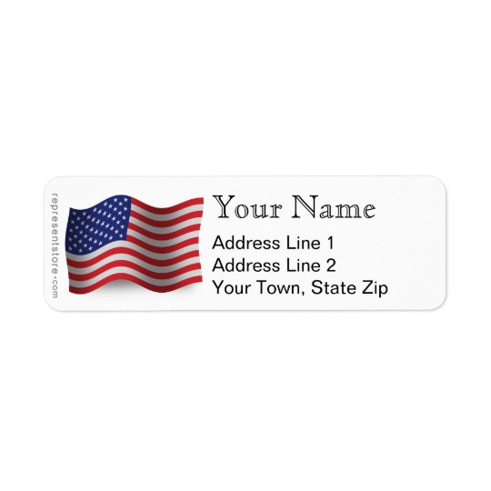 United States Waving Flag Return Address Label