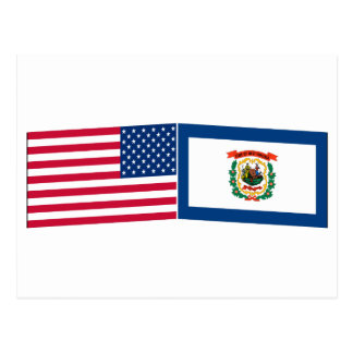 United States & West Virginia Flags Post Cards