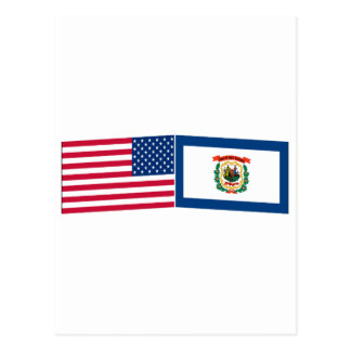United States & West Virginia Flags Postcard