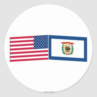 United States & West Virginia Flags Stickers