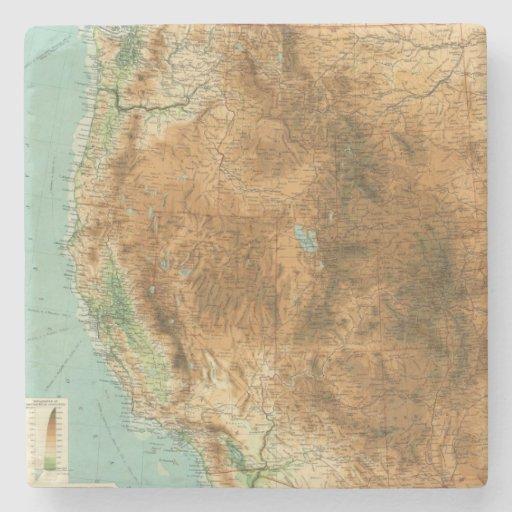United States western section Stone Beverage Coaster