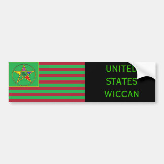 United States Wiccan Flag Bumpersticker Bumper Sticker