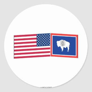 United States & Wyoming Flags Sticker