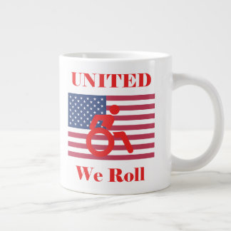 United We Roll - Wheelchair & American Flag Large Coffee Mug
