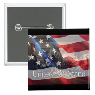 United We Stand Flag with Founding Fathers Pinback Button